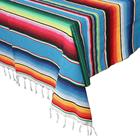 Mexican Serape Table Cloth Outdoor and Indoor Fringe Cotton Mexican Table Cloth