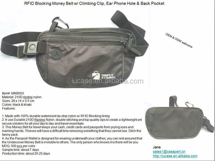 2016 Rfid Blocking Waterproof Waist Money Belt For Travel