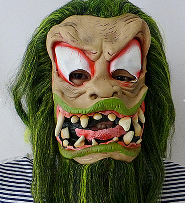 micrkrowen Halloween party cosplay mask Great grimace terror Green Monster wig