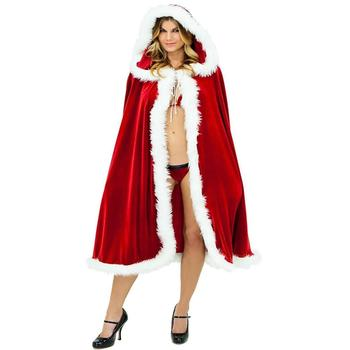 SD Women Adults Christmas Mrs Santa Claus Cloak Xmas Costume Hooded Cape SLAF0017