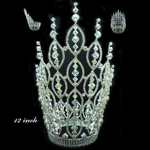Fashion metal indian head crown jewelry tall pageant queen of hearts crown