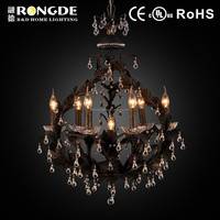 Modern style crystal lamp chandelier black with gold dotted
