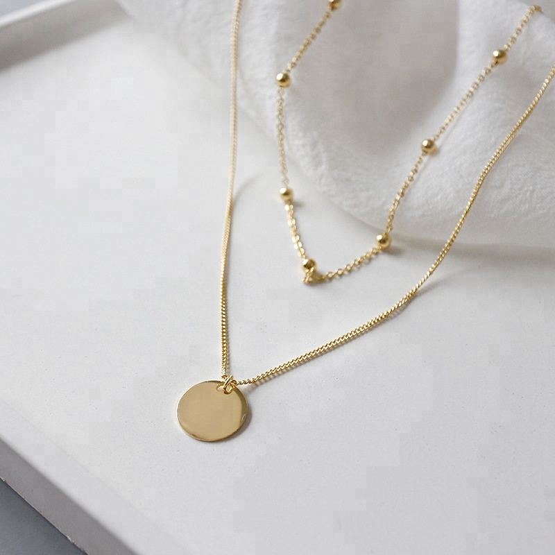 36f8f095d37ef Factory Direct Simple Pendant Bead Chain Double Clavicle Chain Short Ladies  Gold Coin Necklace, View bead chain double clavicle chain short, Peishang  ...
