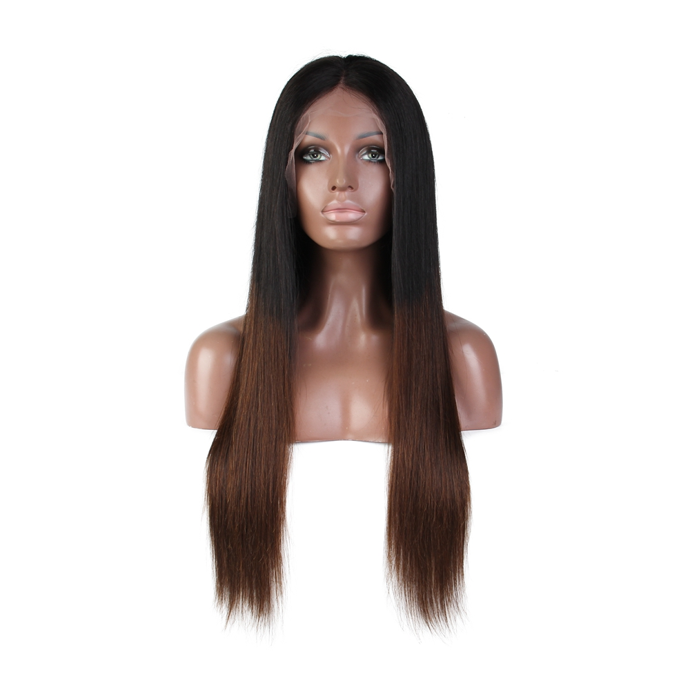9A grade 150% dichtheid ombre indian hair straight diepe deel 13*6 lace front pruik