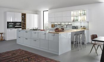 American Standard High Gloss White Lacquer Cabinet Kitchen Miami Project