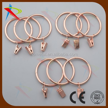 Shiny Copper 2 Inch Curtain Rings With Small Ring Clips