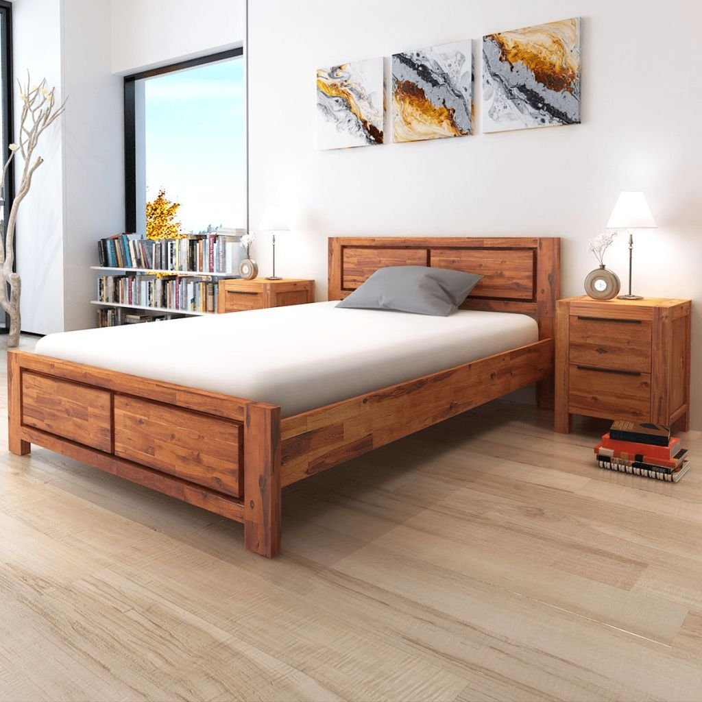 """100% Solid Acacia Wood Double Bed Frame Brown Queen Size Bed Frame For Living Room With Size:61.4"""" x 83"""" x 33.5"""" (W x L x H)"""