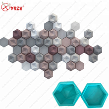 2018 new Cement decorated wall brick Molds silicone 3D hexagonal conccrete stone brick decorations mold