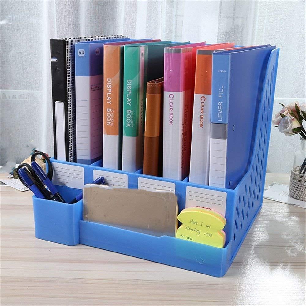 Plastic Holder with Pen Holder Document Divider File Cabinet Rack Display and Storage Manager 4 Grid Desktop Magazine/File Rack Office Supplies,24.526.541cm,Blue