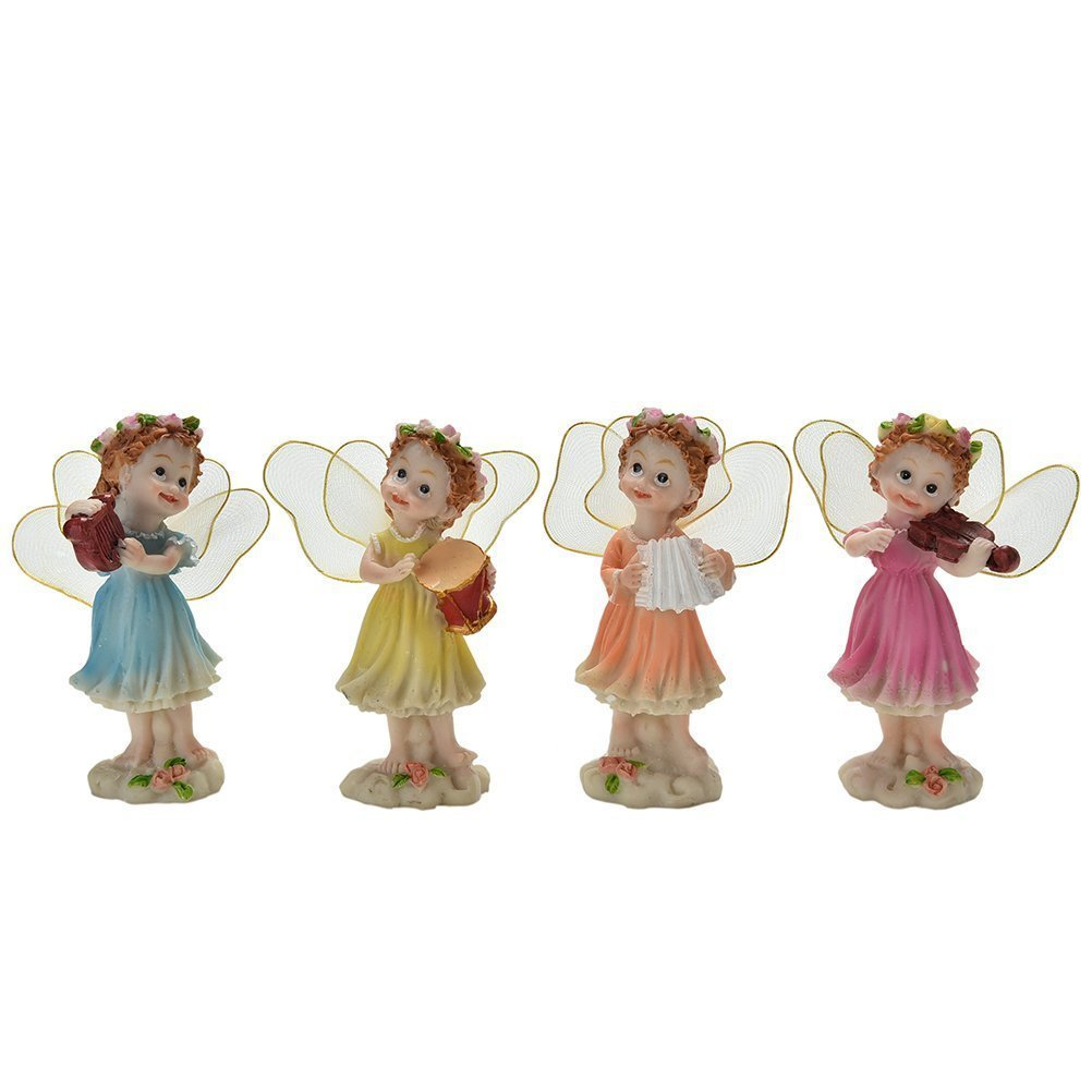 Miniature Fairy Garden Ornaments Flower Fairies with Musical Instruments, Set of 4, 4 Inch Tall
