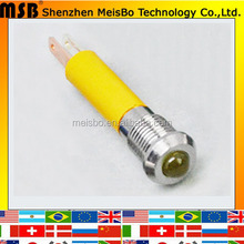 Metal 20ma 24v 8MM Yellow LED Waterproof phone in use indicator light