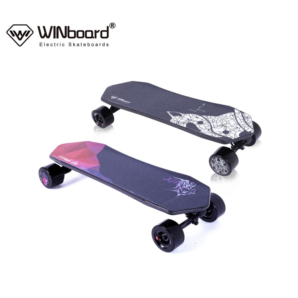 WINboard Lynx portable 14 miles distance 90mm hub motor remote control 3 speed carbon fiber electric skateboard