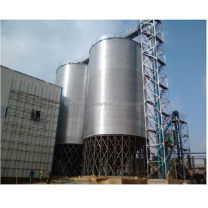 Galvanized hopper bottom steel silo to store wheat , corn , sorghum , soybean and various grain