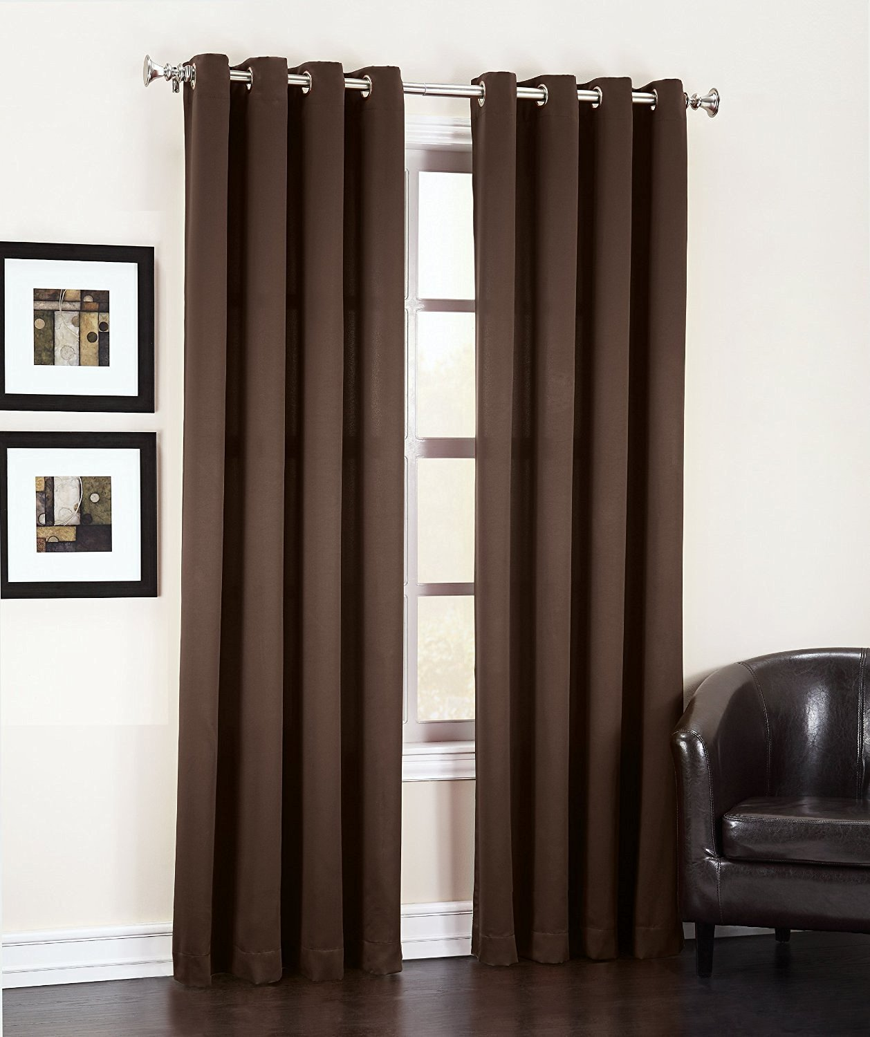 "Angel Solid Grommet Blackout Panel Curtain Thermal - All Sizes (63"" Short, brown)"