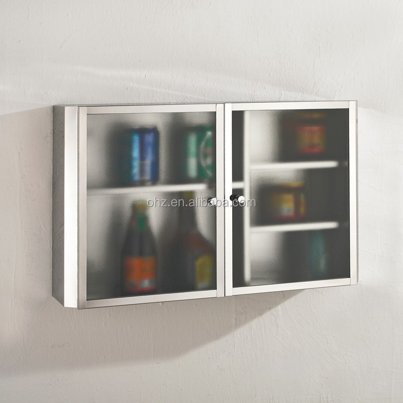 Stainless Steel And Glass Kitchen Cabinet Doors: Wall Mounted Stainless Steel Kitchen Cabinet With Glass