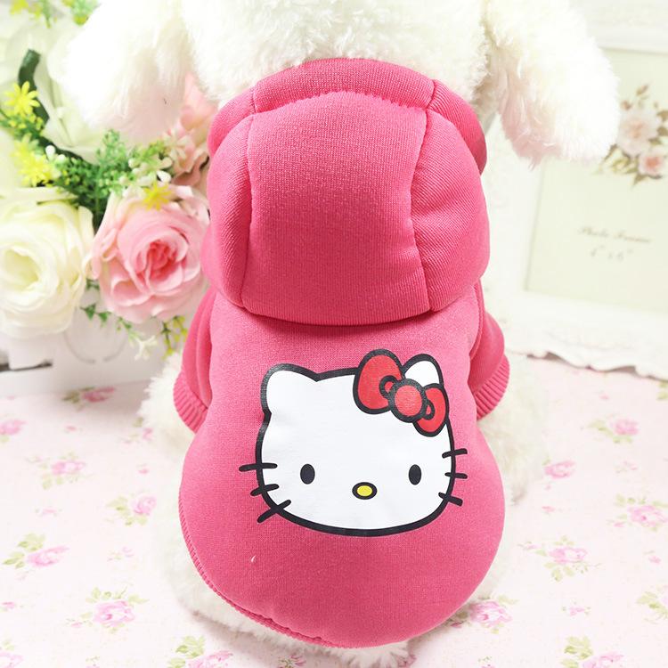 Yüksek kalite sıcak yumuşak pet giyim kış köpek giysileri sevimli evcil hayvan giysileri hello kitty