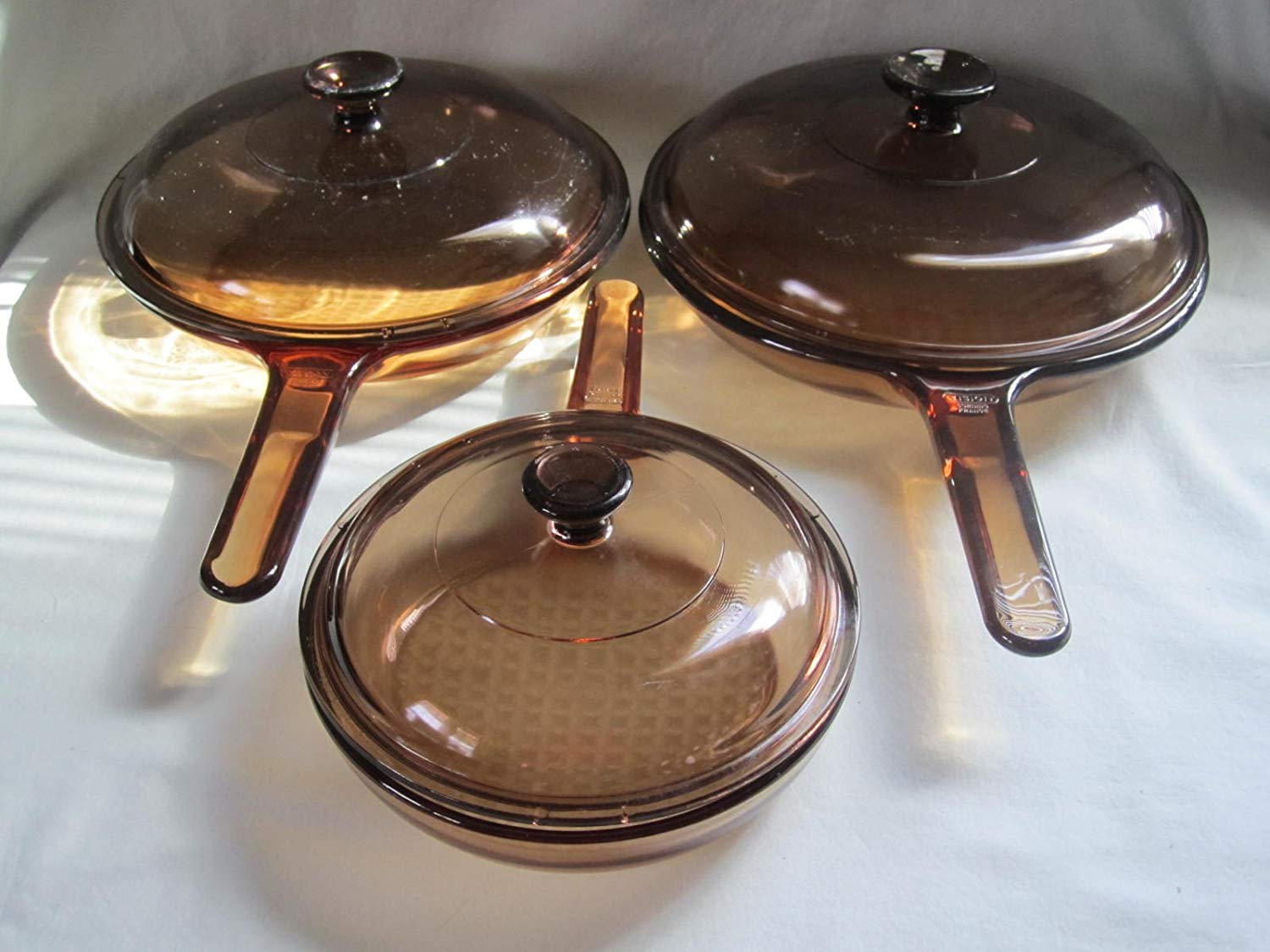 Set of 3 - Vintage 1980s Corning Visions Visionware Amber Glass Frying Pan Skillets w/ Lids ( 7 Inch, 9 Inch, 10 Inch )