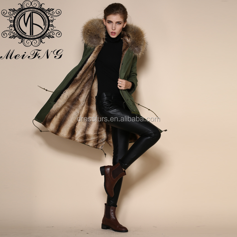 latest unique women thick long winter coats with faux rabbit fur liner and raccoon fur collar