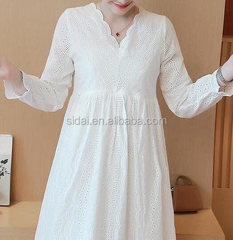 d93951e3a6e89 long sleeves women fashon cutwork embroidery cotton fabric maternity dress
