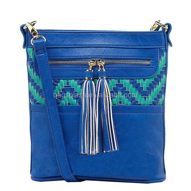 Navy blue fashion leather clutch bag, straw bag lady, woven clutch bag CL9-155