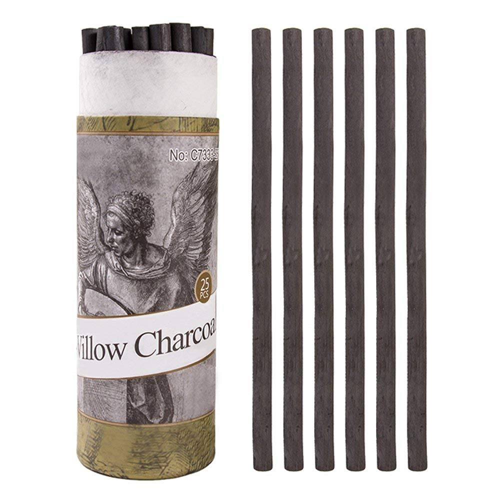 Thin Pentalic Willow Charcoal 3 Sticks per Package