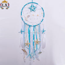 DLX-00036 sea style bali natural conch starfish dreamcatcher feather macrame cowire dream catcher with shell