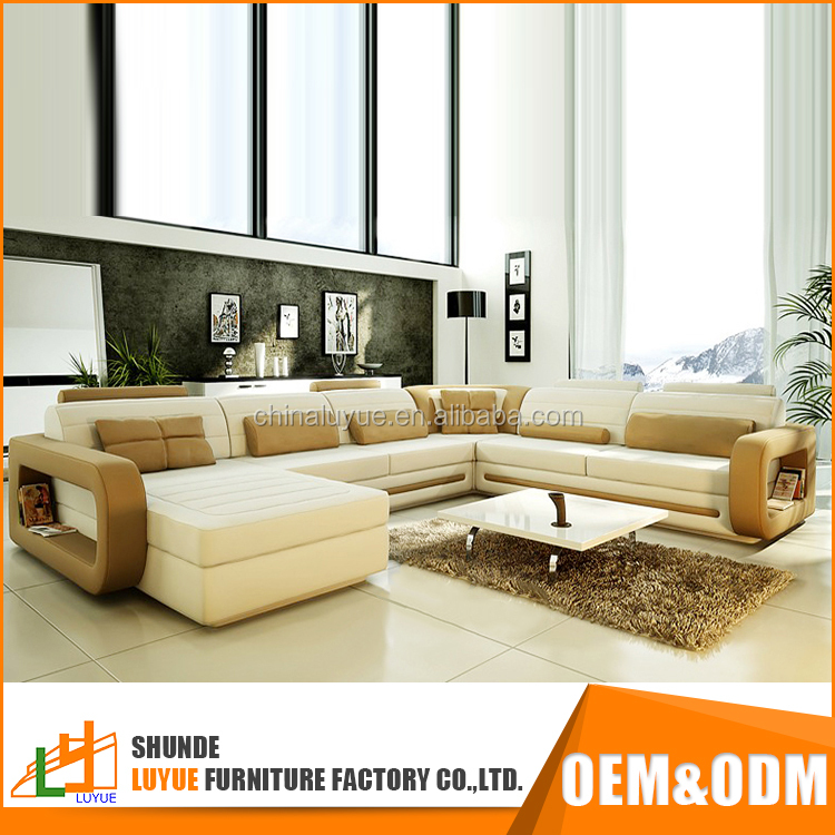 wholesale genuine leather l or u shaped fashionable sofa furniture modern design corner sofa set with chaise lounge