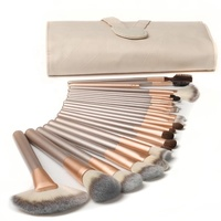 7/12 Pieces/15 Pcs/18 Piece/24 Custom Logo High End Makeup Tools Champagne Eco Friendly Customize Nylon Makeup Brush Set