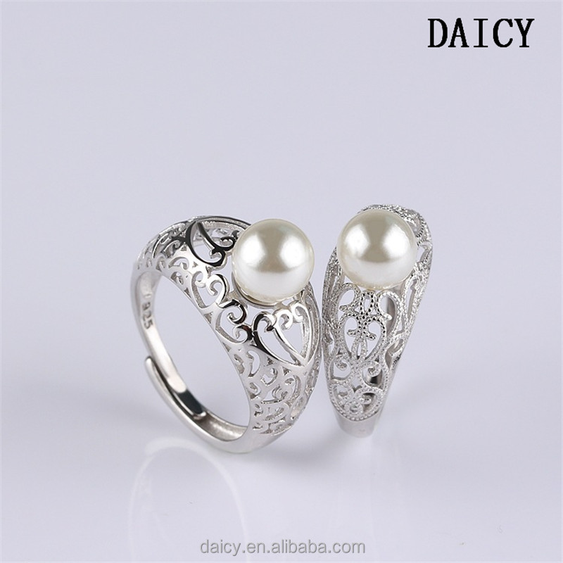 DAICY cheap wholesale hollow silver opening pearl ring designs for men