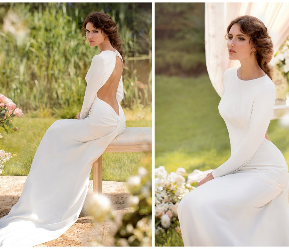Simple Elegant Open Back Long Sleeve Wedding Dress: Plus Size Wedding Dress Sexy Open Back Long Sleeve Button