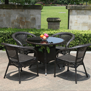 Home Indoor Outdoor Rattan Furniture Garden Patio Outlook International Round Tempered Gl Table Rest Chair Sets