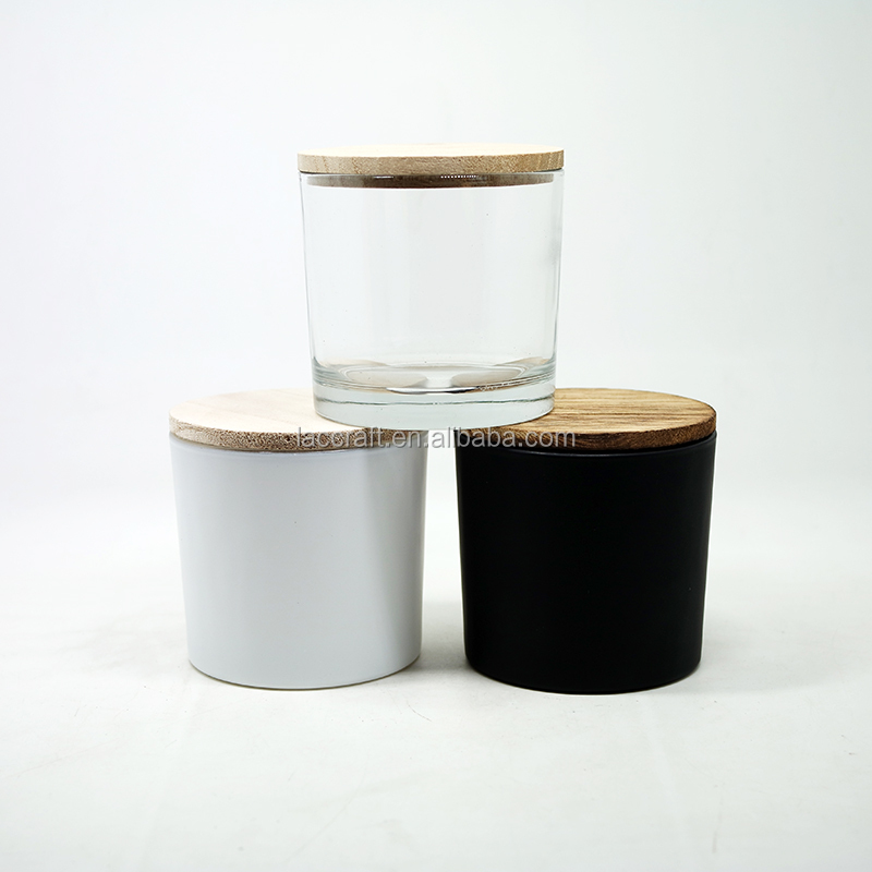 8oz Flat bottom christmas glass candle jars with wooden bamboo lids