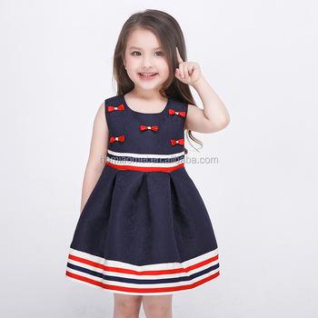 9de88683377f0 Little Girls Princess Party Wear Western Dress Deep Blue Color Stripe  Sleeveless Children Girl Dress