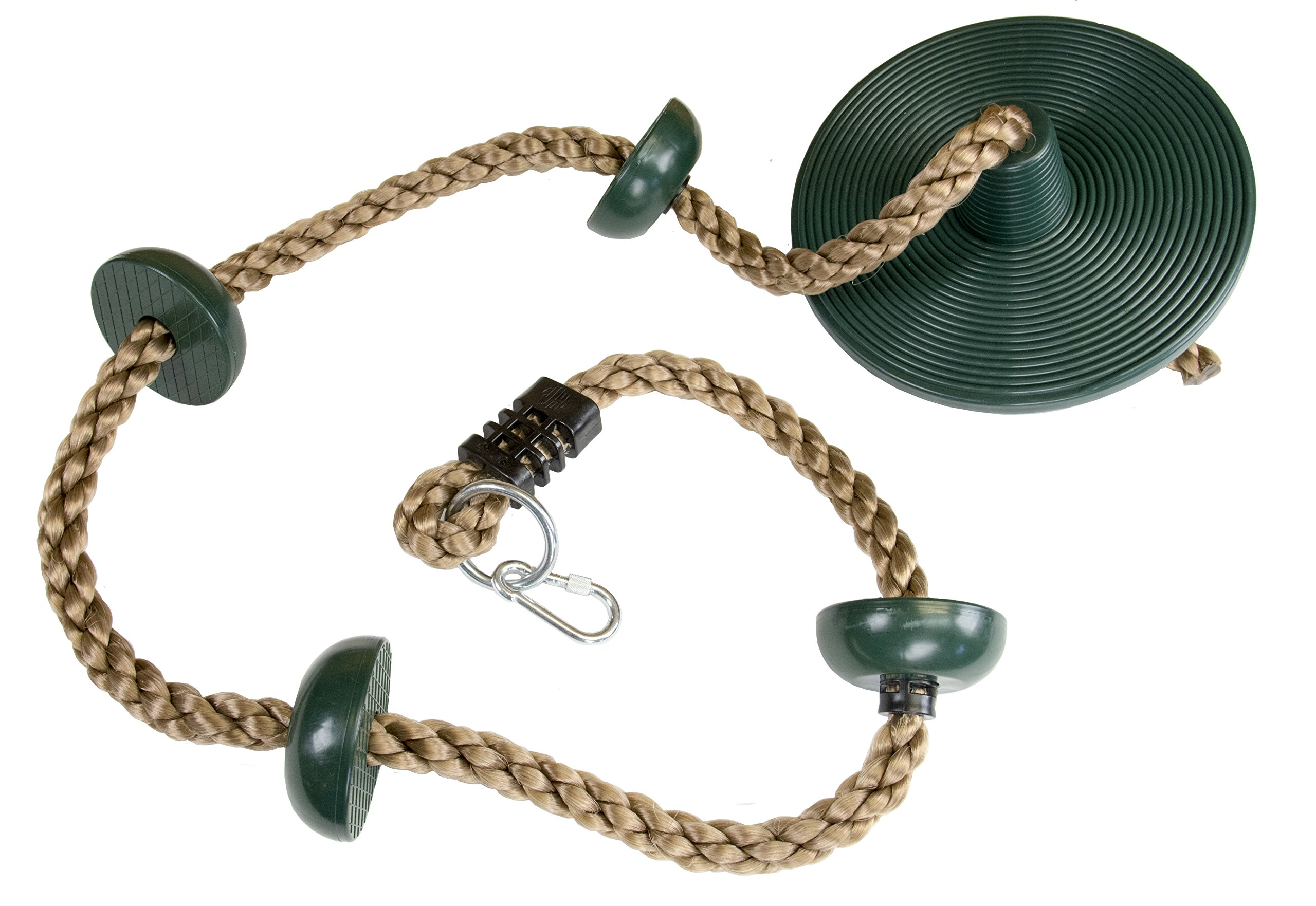 Squirrel Products Climbing Rope with Disc Swing - Easily Hang from Swing Set or Tree Swing Straps with The Included Carabiner