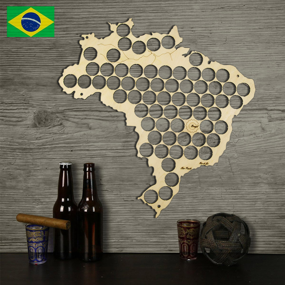 Wall Mounted Beer Cap Map Of Brazil Wooden Display Board For Brasil Cap Collectors Beer Drinker