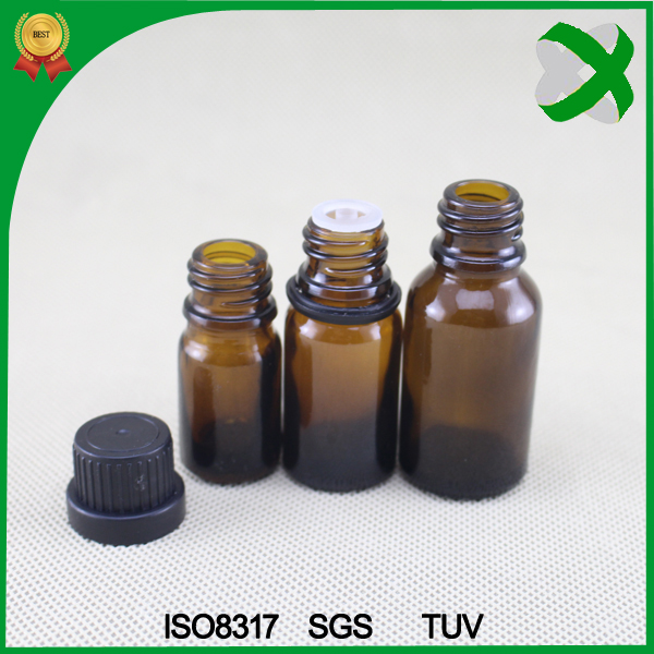 Amber 5ml 10 ml essential oil glass bottle, screw tamper ring cap 15 ml glass dropper bottles with orifice reducer
