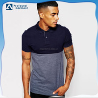 High quality 100% pima cotton two tone blocked polo shirts for men