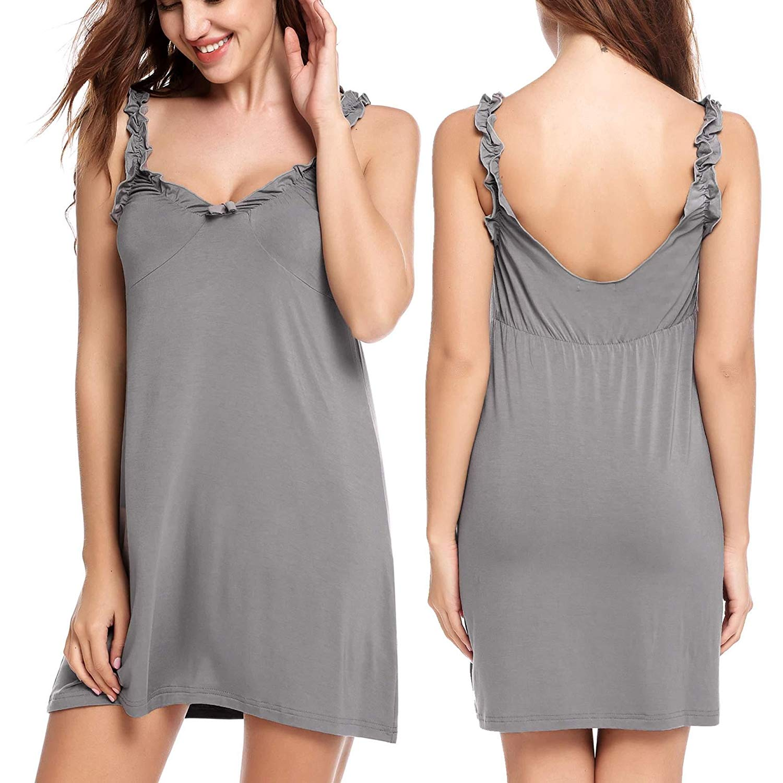fa66a920c Get Quotations · Skylin Women's Sleepwear Cute Chemise Nightgown Full Slip  One Piece Lingerie Nightwear S-XXL