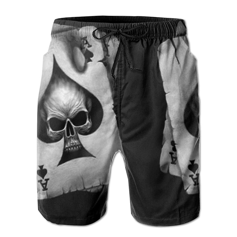 4ca44298a61 Get Quotations · SVVOOD Mens Beachwear Swim-trunks Quick-drying Poker Skull  Hearts Card Surf Board Shorts