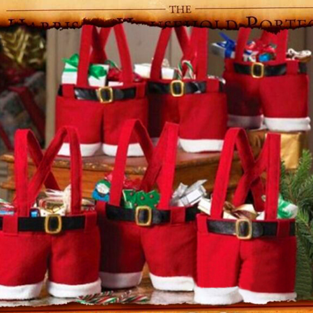 Xmas Wedding Christmas Home Decoration Supplies Tree Santa Pants Gift And Treat Candy Bags
