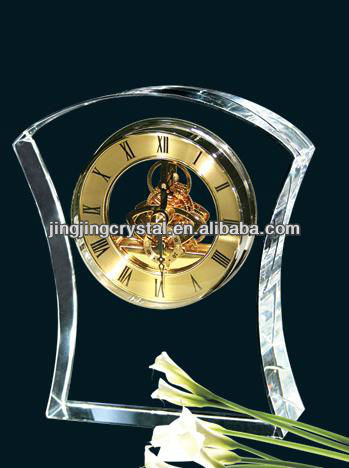 small crystal desk clock for business gift