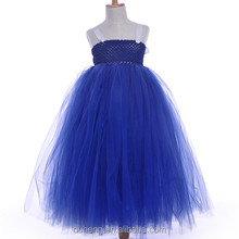 Charming Little Kids Navy Blue Princess Tutu Dress With White Ribbons Cute Girl Bowknot Wedding Vestidos For Evening Party