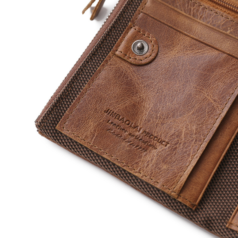 JINGBAOLAI Brand Vintage Genuine Leather Men's Purse Cow Leather Double Zip Short Section Wallet