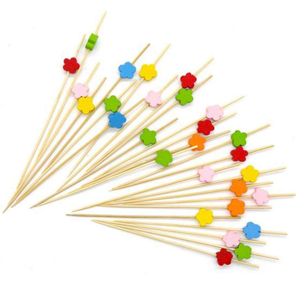 "100 Counts Da.Wa Fruit sign Handmade 4.7"" Flower Shape Cocktail Sticks Sandwich Fruit Toothpicks Cocktail Picks Party Supplies(Colorful)"
