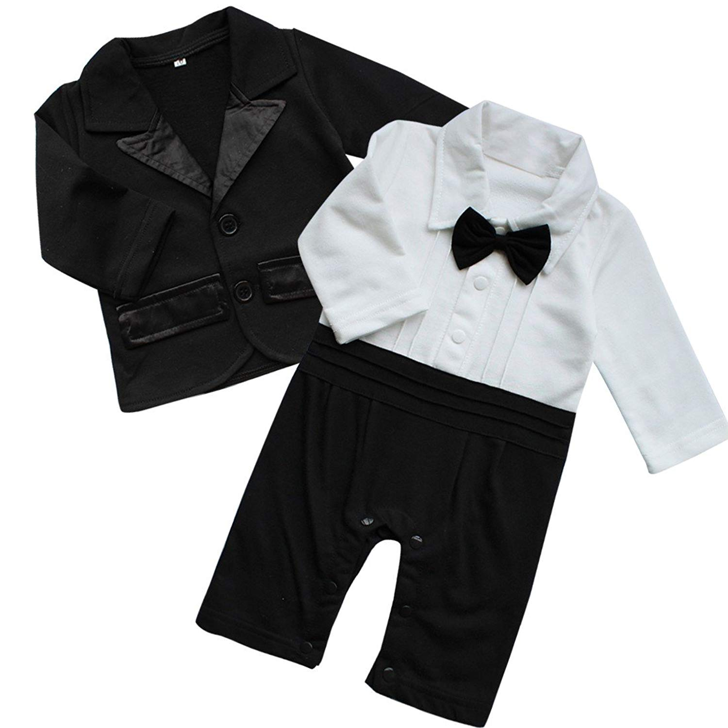 d8880becf46b2 Get Quotations · YiZYiF Baby Boys  Long Sleeve 2Pcs Gentleman Romper Suit  With Bowtie