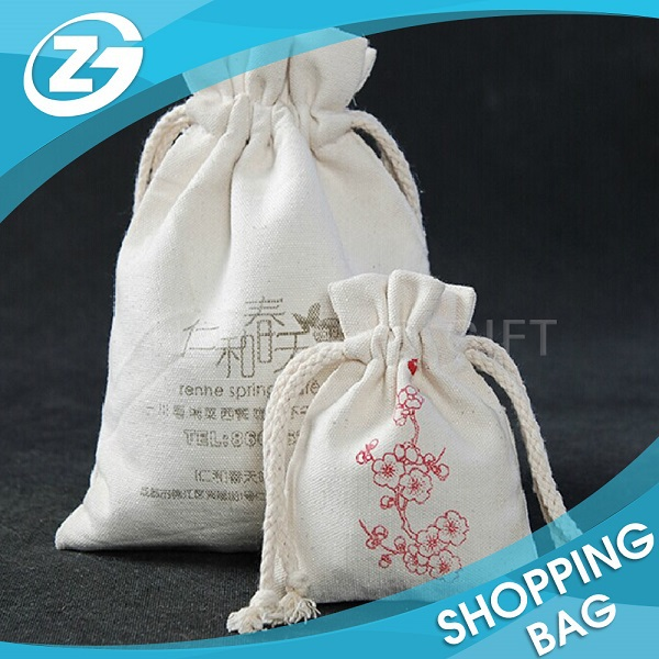 New Year Promotion Cheap and Durable Eco Plain Small Cotton Drawstring Bag
