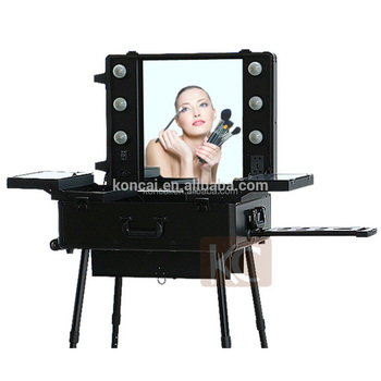 Ordinaire Professional Makeup Station With Lighted Mirror Portable LED Aluminium  Cosmetic Case