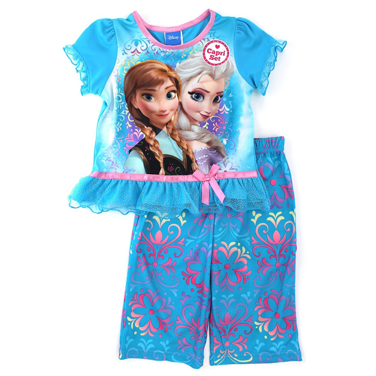 5cee440d68 Get Quotations · Frozen Elsa Anna Girls Blue Poly Pajamas
