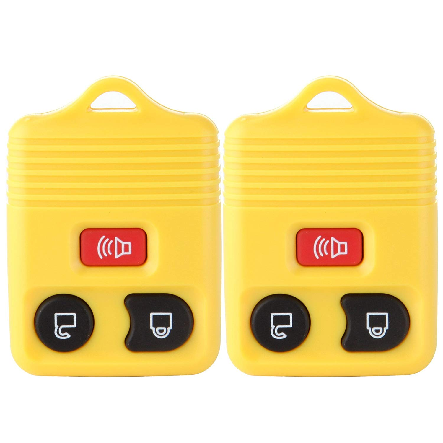 SCITOO Keyless Shell, 2 New Replacement Alarm Remote Keyless FOB Key Shell Pad Case Without Chip Yellow
