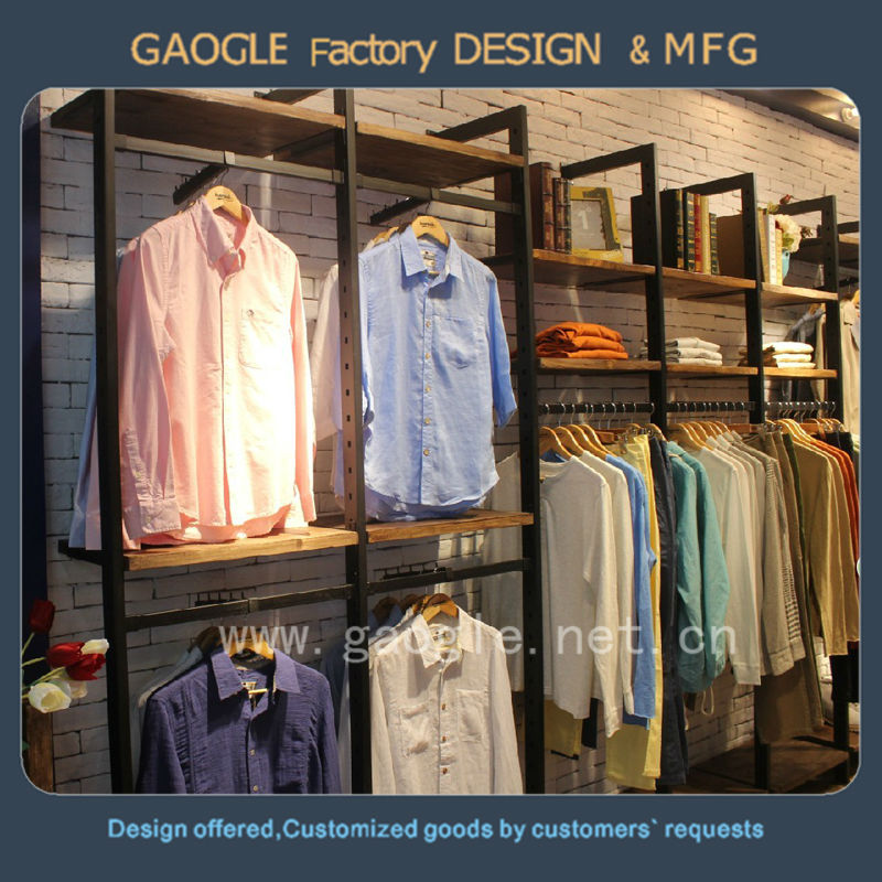 2017 cheap custom furniture latest wooden stainless steel retail clothing garment shop interior design for sale